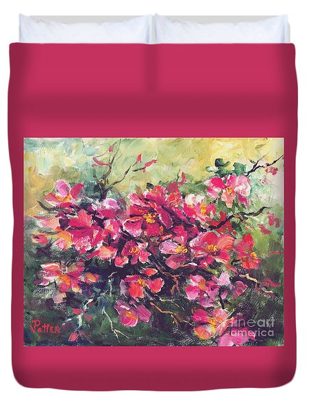 Flowering Quince Duvet Cover
