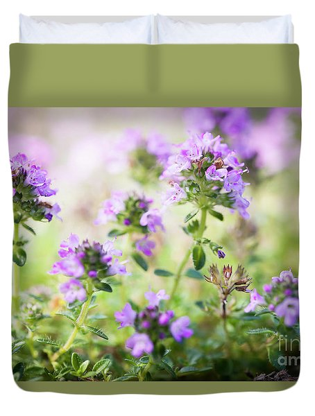 Duvet Cover featuring the photograph Flowering Thyme by Elena Elisseeva