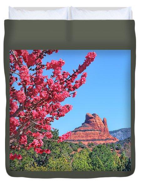 Flowering Tree - Sedona Red Rock Duvet Cover