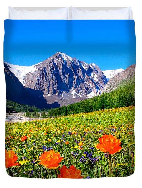Flowering Valley. Mountain Karatash Duvet Cover