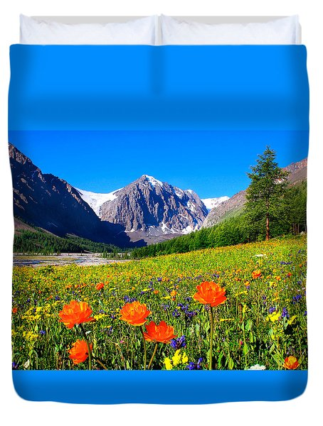 Flowering Valley. Mountain Karatash Duvet Cover