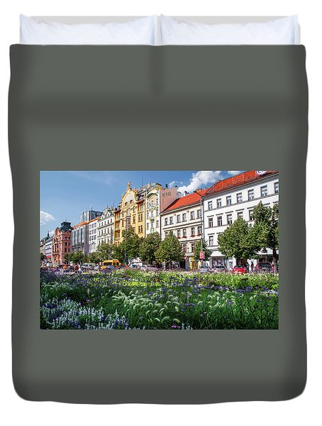 Duvet Cover featuring the photograph Flowering Wenceslas Square In Prague by Jenny Rainbow