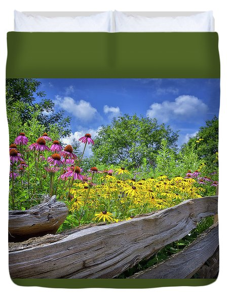 Flowers Along A Wooden Fence Duvet Cover