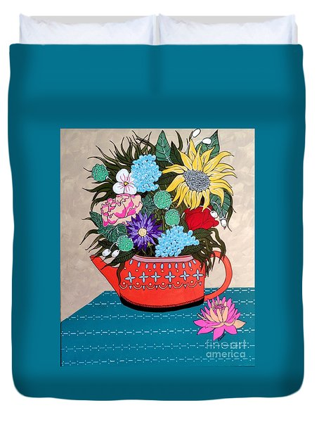 Duvet Cover featuring the painting Flowers by Amy Sorrell
