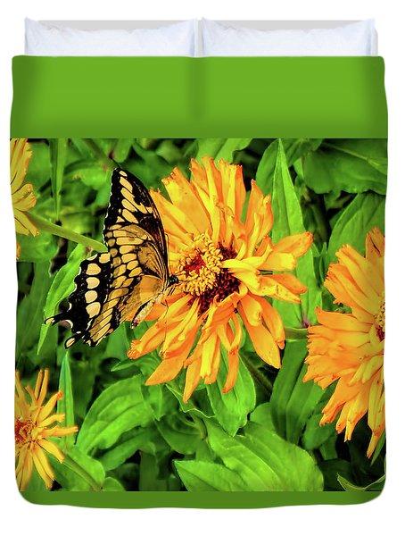 Flowers And Butterflies Duvet Cover