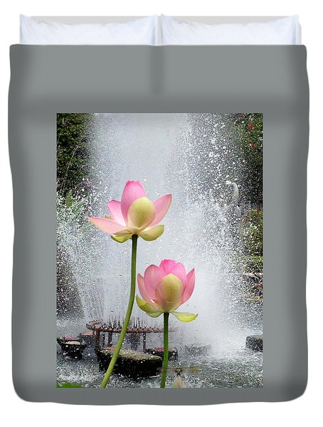 Flowers And Fountains Duvet Cover