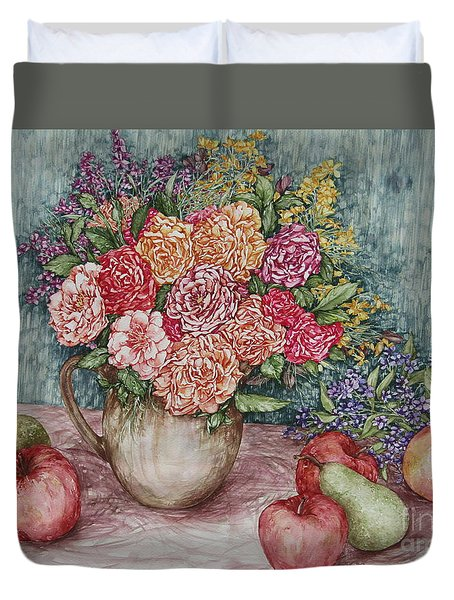 Flowers And Fruit Arrangement Duvet Cover