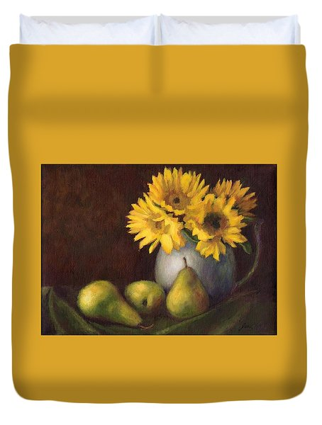 Duvet Cover featuring the painting Flowers And Fruit by Janet King