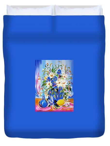 Flowers And Lemon Duvet Cover