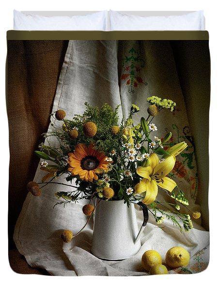 Flowers And Lemons Duvet Cover