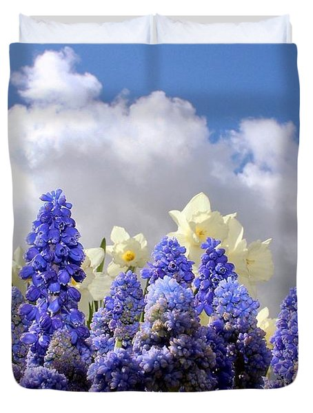 Flowers And Sky Duvet Cover
