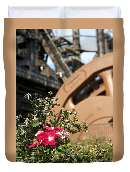Flowers And Steel Duvet Cover by Michael Dorn