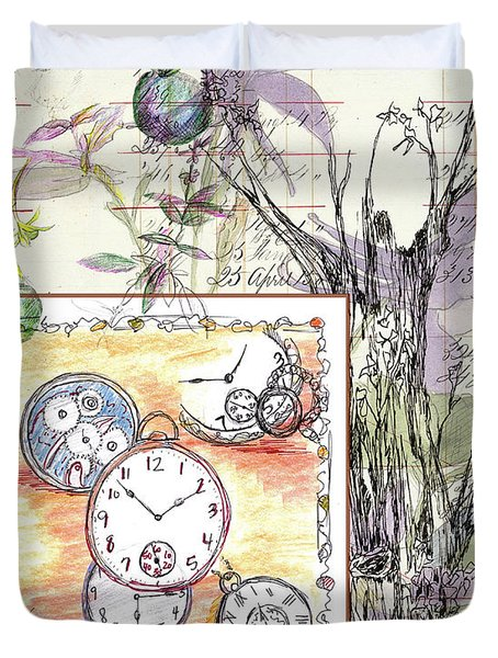 Duvet Cover featuring the drawing Flowers And Time by Cathie Richardson