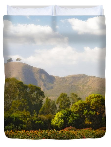 Flowers And Two Trees Duvet Cover