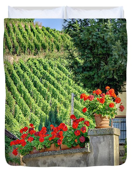 Duvet Cover featuring the photograph Flowers And Vines by Alan Toepfer