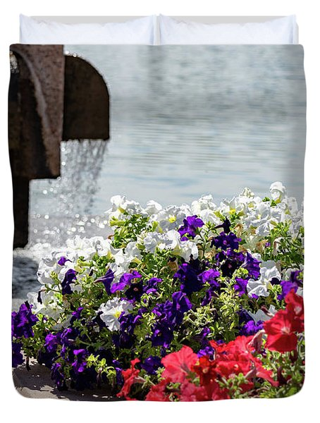 Flowers And Water Duvet Cover