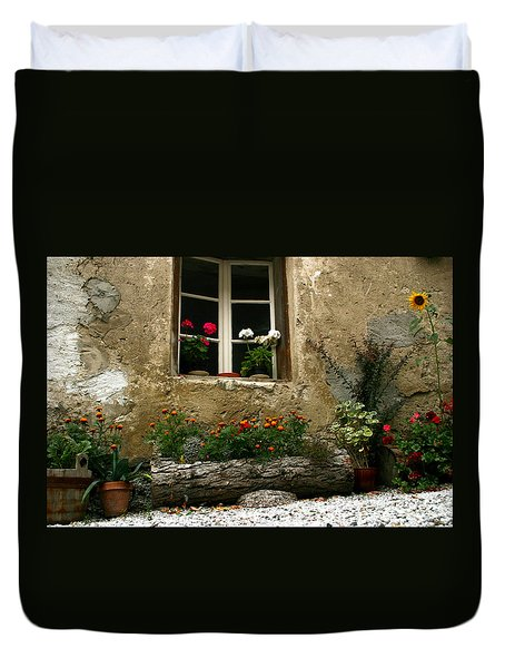 Flowers At Window Duvet Cover
