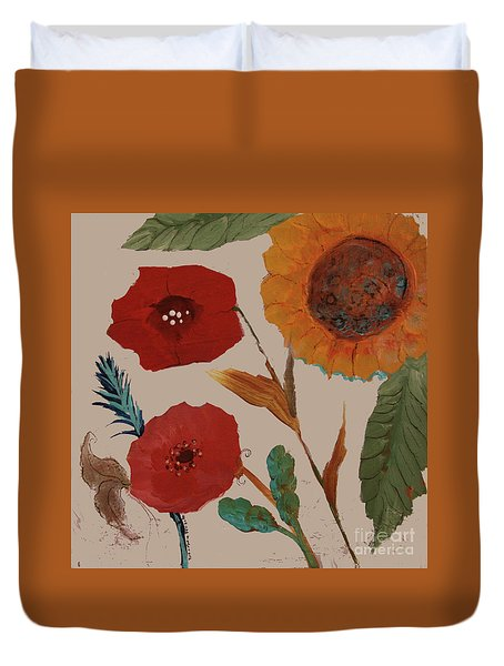 Duvet Cover featuring the painting Flowers Blowing In The Wind by Robin Maria Pedrero