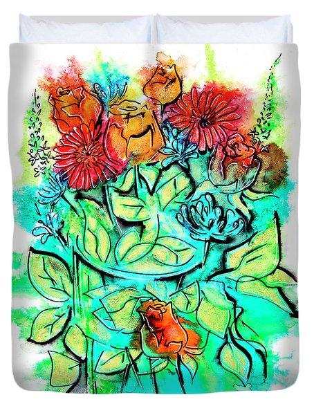 Flowers Bouquet, Illustration Duvet Cover