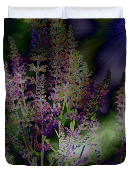 Flowers By Moonlight Duvet Cover by Barbara S Nickerson