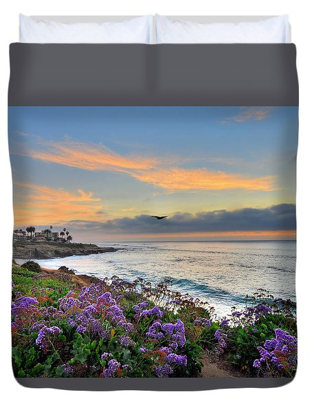 Flowers By The Ocean Duvet Cover