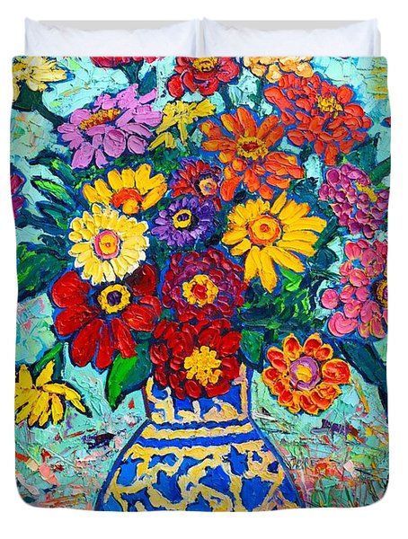 Flowers - Colorful Zinnias Bouquet Duvet Cover