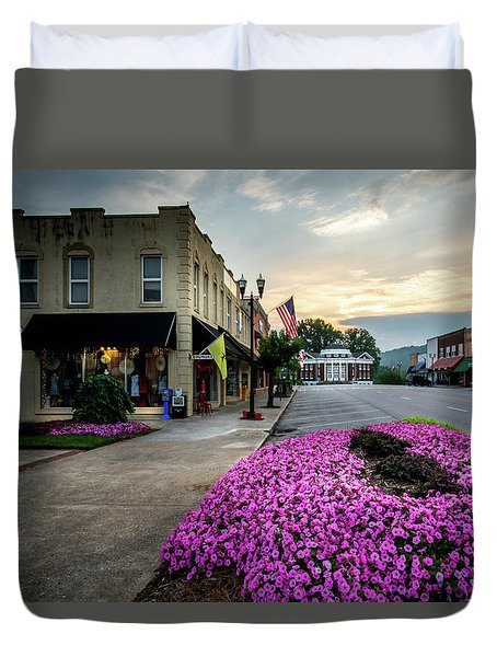 Flowers Flags And The Church Duvet Cover