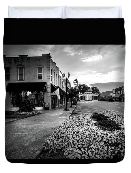 Flowers Flags And The Church In Black And White Duvet Cover