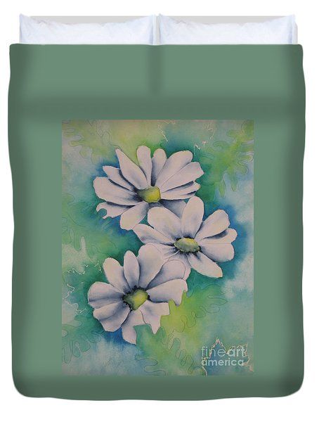 Duvet Cover featuring the painting Flowers For You by Chrisann Ellis