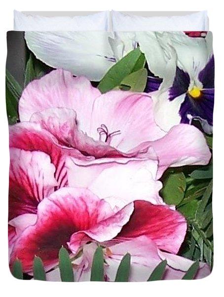 Duvet Cover featuring the photograph Flowers From The Heart by Jolanta Anna Karolska