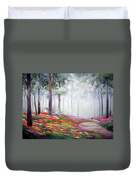 Duvet Cover featuring the painting Flowers Garden Inside A Forest by Samiran Sarkar