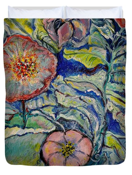 Duvet Cover featuring the painting Flowers Gone Wild by Deborah Nell