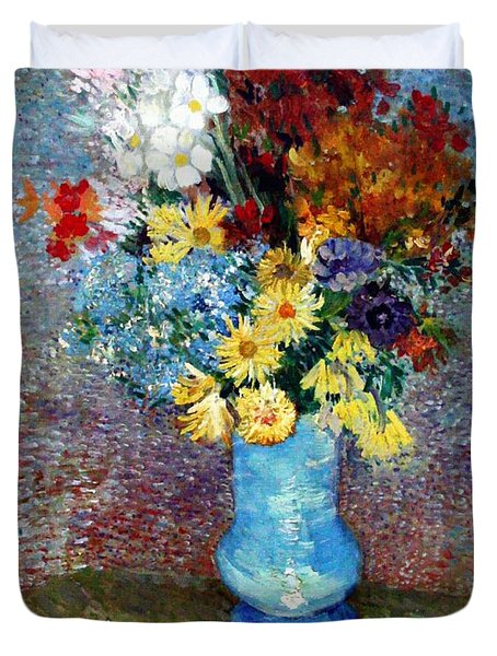 Duvet Cover featuring the painting Flowers In A Blue Vase  by Van Gogh