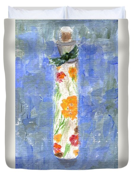 Duvet Cover featuring the painting Flowers In A Bottle by Jamie Frier