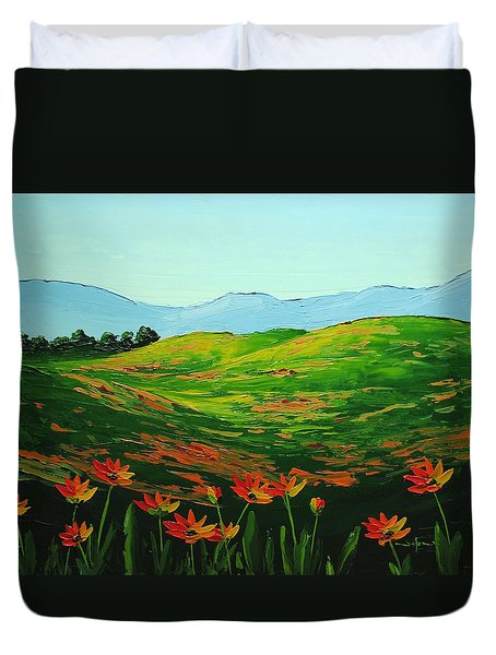 Flowers In A Meadow Duvet Cover by Nolan Clark