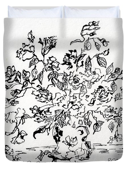 Flowers In A Vase Ink Art Duvet Cover