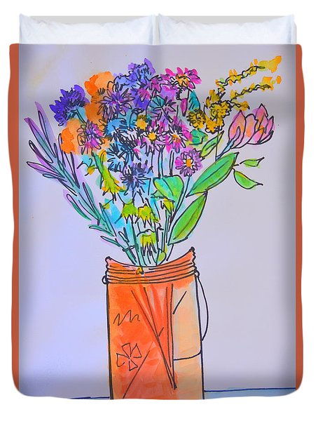 Flowers In An Orange Mason Jar Duvet Cover