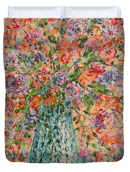 Flowers In Crystal Vase. Duvet Cover
