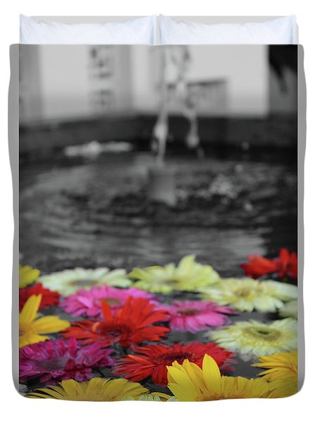 Flowers In Fountain Duvet Cover