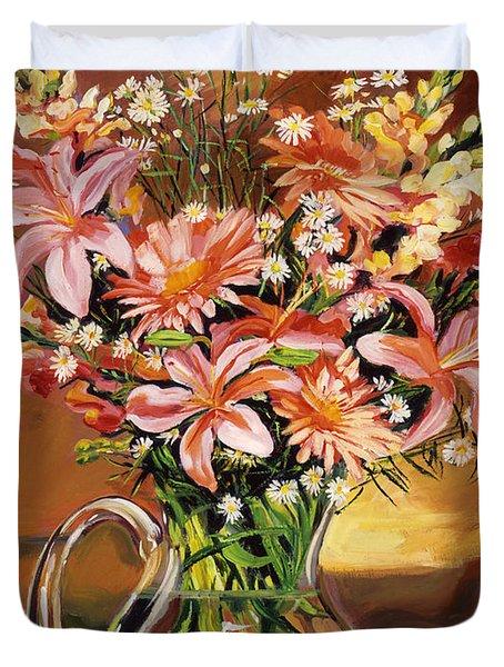 Flowers In Glass Duvet Cover