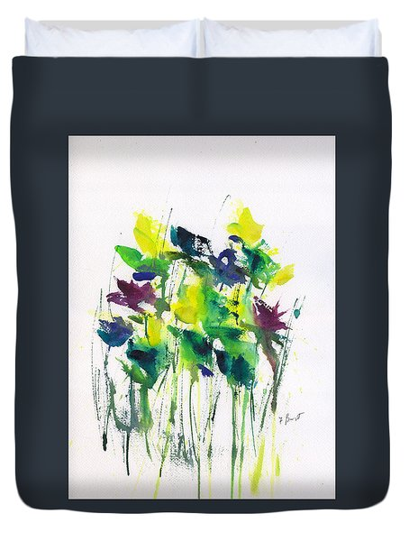 Flowers In Grass Abstract Duvet Cover