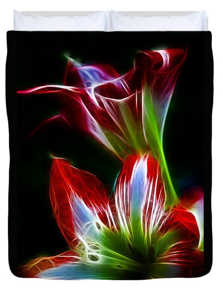 Flowers In Green And Red Duvet Cover
