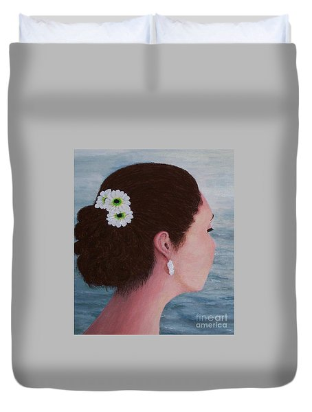 Duvet Cover featuring the painting Flowers In Her Hair by Judy Kirouac