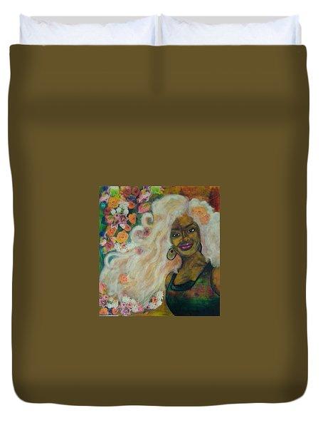 Flowers In Her Hair Duvet Cover