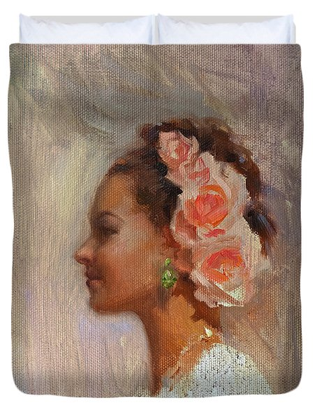Pretty Flowers - Impressionistic Portrait Of Young Woman Duvet Cover