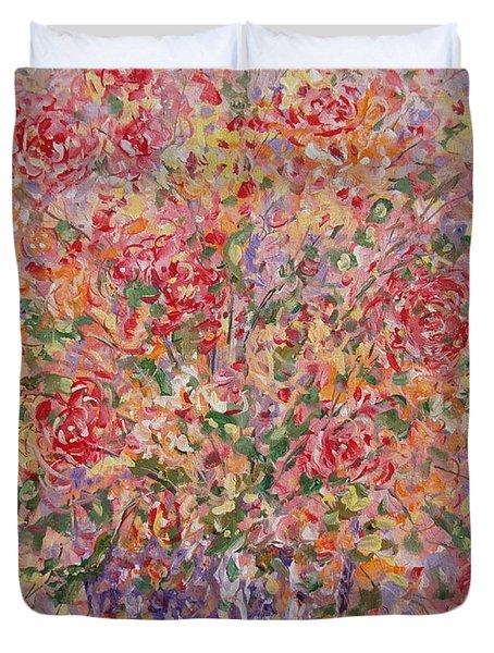 Flowers In Purple Vase. Duvet Cover