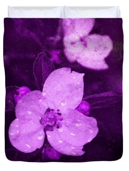 Duvet Cover featuring the digital art Purple Colored Apple Blossoms by Fine Art By Andrew David