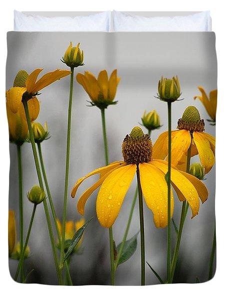 Flowers In The Rain Duvet Cover