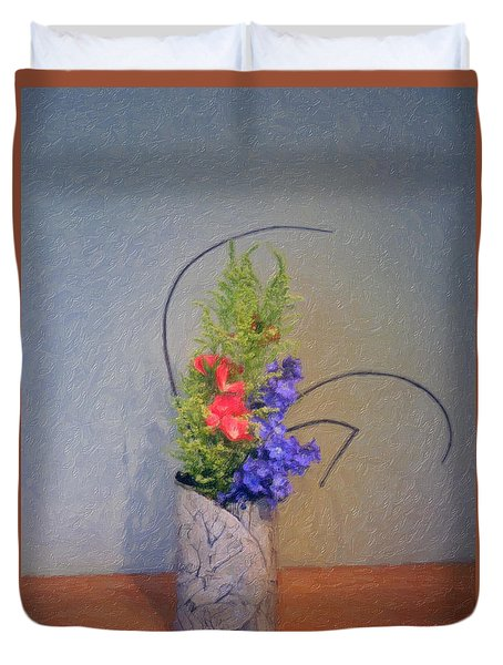 Flowers In Vase Duvet Cover
