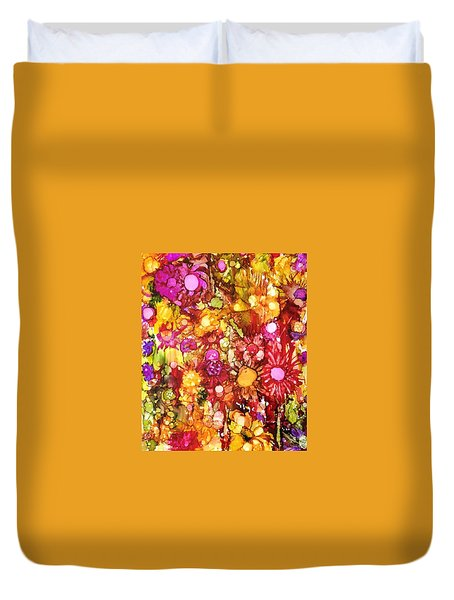 Flowers In Yellow And Pink Duvet Cover by Suzanne Canner